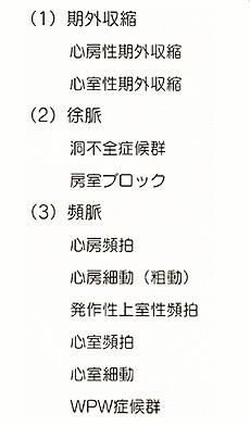 表1:不整脈の種類